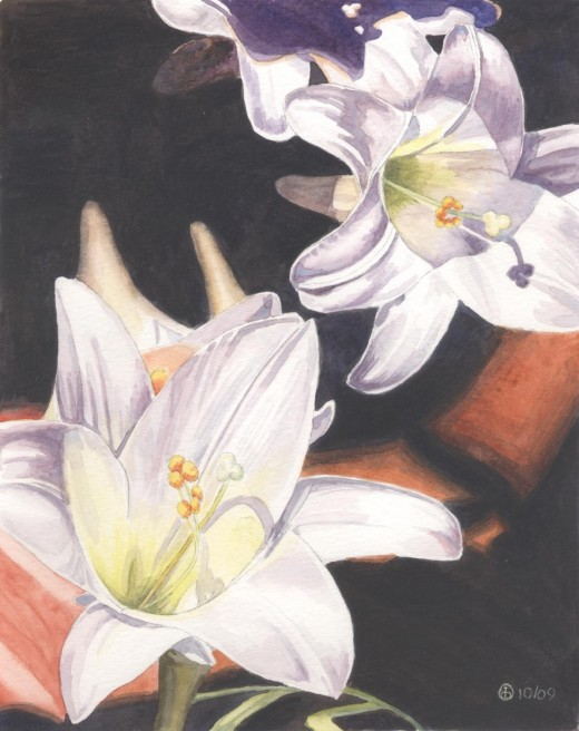 Easter Lilies (Risen Indeed!) watercolor, 10 x 8""