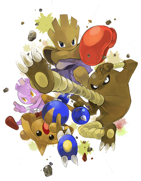The Tyrogue Evolution Family - Tyrogue, Hitmonchan, Hitmonlee and Hitmontop
