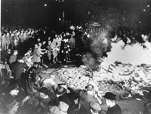 Here a scene of the SA burning unGerman books! McCain - Feingold enforced the banning of books!