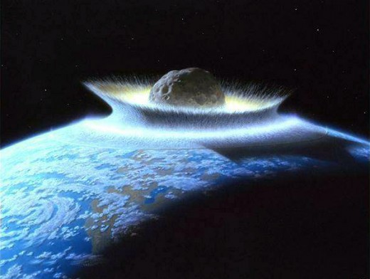 Artist's rendering of planetoid crashing into primordial Earth. Could a potential end-of-life event have been the reason behind Noah's Flood?