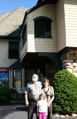 Recent family photo of the 3 of us in North Conway, NH (in front of Stonehurst Manor)