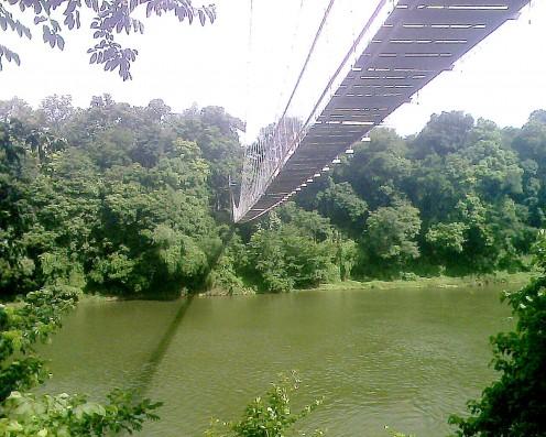 Hanging bridge around 300 m (1000 feet) long