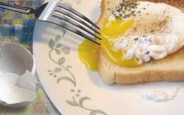 This poached egg was Sam's breakfast on the day he published this article. The table cloth is of his own design, superimposed on dry weeds which photo he also took the same day.