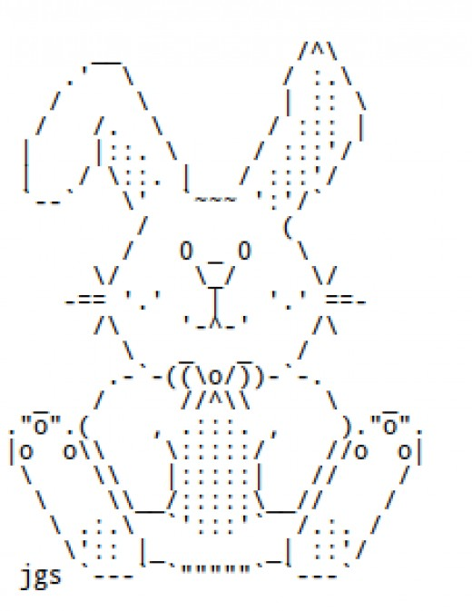 Single Line Ascii Art Facepalm : Easter bunnies and chocolate rabbits in ascii text art