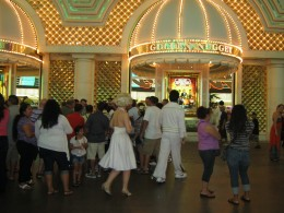 """""""Elvis"""" and """"Marilyn"""" walking together down the street... only on Fremont Street in Las Vegas."""