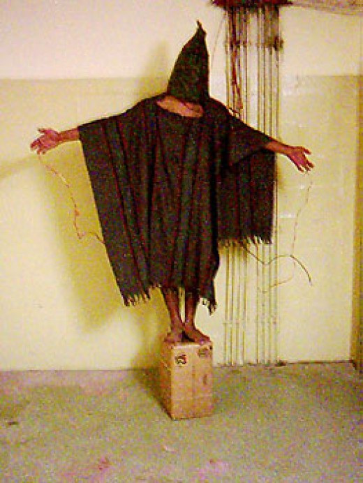 Though not of an actual crucifixion, this now infamous photo is of leaked torture in Iraq. This is but the tip of a far more vast system of torture. This one is part physical, part mental.