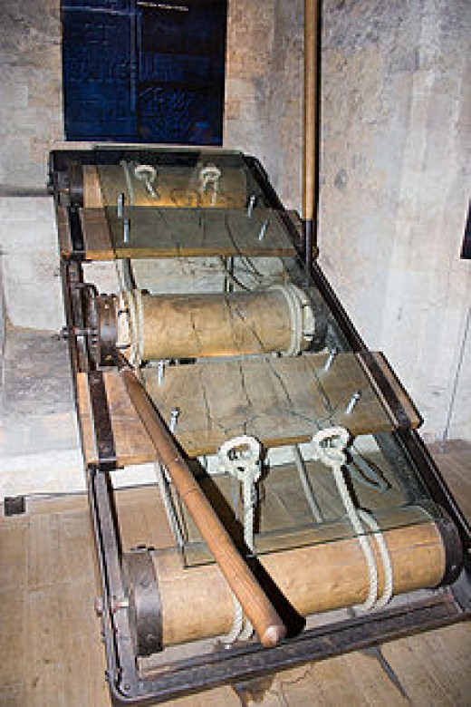 This modern looking device is a rack, used since ancient times. The person was tied to this device and stretched to the point of limb dislocation and even amputation.