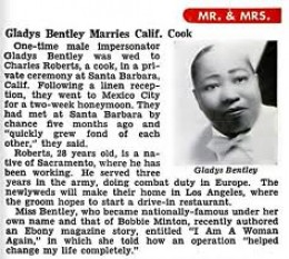 The article about Gladys Bently's marriage