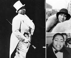 Top Left - Gladys Bently in her signature top hat and tuxedo. Top Right - along with her fur coat and collar. Below Right - Outside of a nightclub Gladys in her tuxedo.