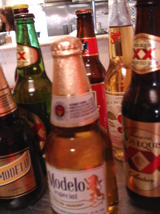 A variety of Mexican beers.