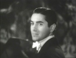 """Tyrone Power in the film, """"Alexander's Ragtime Band."""" Trailer screenshot."""