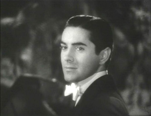 "Tyrone Power in the film, ""Alexander's Ragtime Band."" Trailer screenshot."