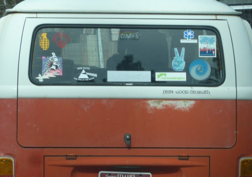This van, spotted near a college campus, uses decals to express their likes and interests.