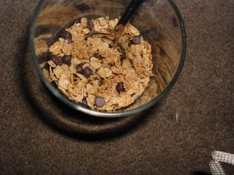 Granola, raisins and a few chocolate chips make a great afternoon snack.