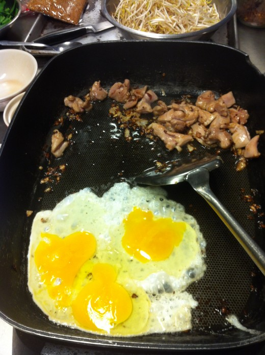 Fried egg and pork