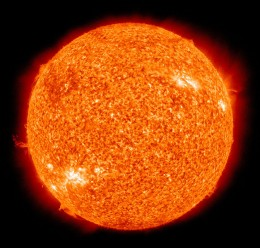 Our sun as seen in a false-color image taken in the extreme ultraviolet. The sun becoming a red giant will signal the end of the world.