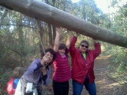 Alicia (left) being silly with my daughter and mom daughter during one of her visits.