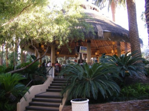 The tiki hut at the Mirage pool is a great spot to order some drinks and take a break from the sun.