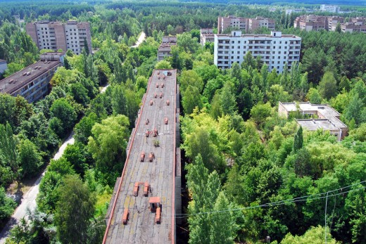 Pripyat, once home to 50,000 people is gradually being consumed by the wild.