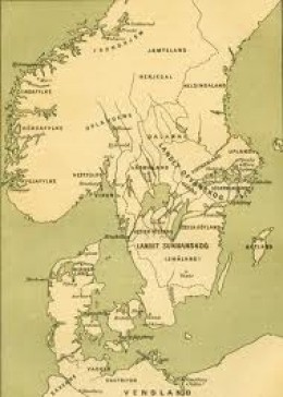 Southern Scandinavia in Viking times with the tops of Jutland, Fyn and Sjaelland opposite Halland and Skaane (now Sweden)