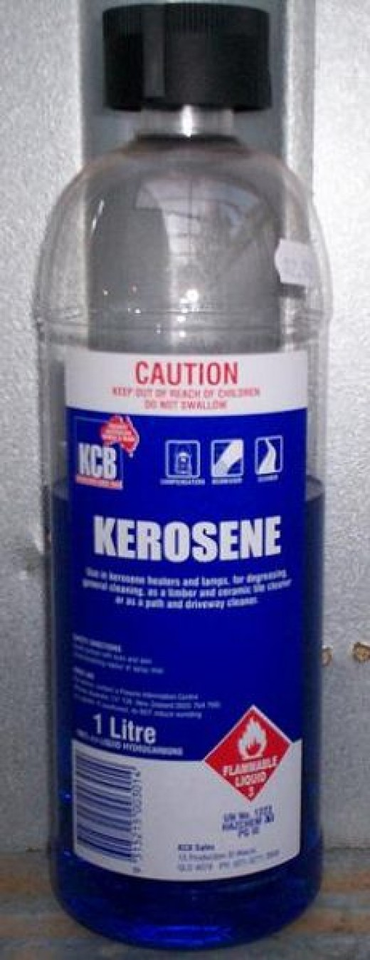 Kerosene in a bottle - keep kerosene out of reach of the children