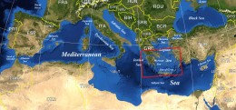 Composite satellite map of the Mediterranean with political borders superimposed. Where is Atlantis? Not within the Mediterranean.