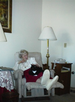Although on this Easter Mom had other company, her cat was her only company most of the time.