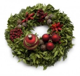 Look at manmade and natural decorations on this wreath - the natural ones look better!