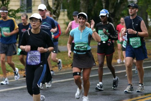 My sister running the 2008 Portland Marathon