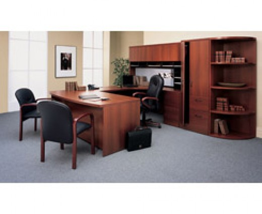 Modern offices can be furnished with wooden pieces, or more sleek minimalistic styles.