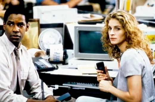Denzel Washington and Julia Roberts in The Pelican Brief (1993)