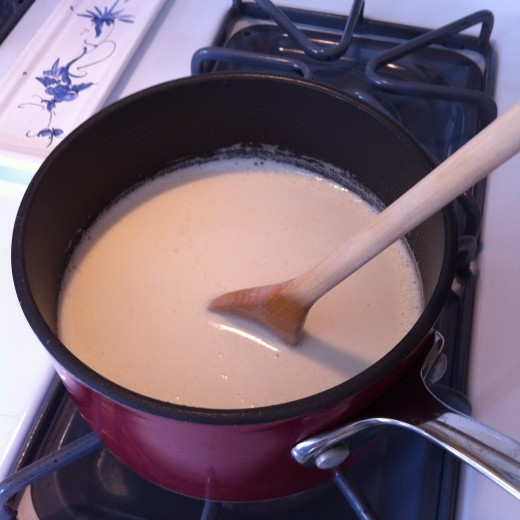 When bringing the cream, half and half, and sugar to a boil, keep stirring! When it reaches boiling temperature, it can very suddenly overflow.