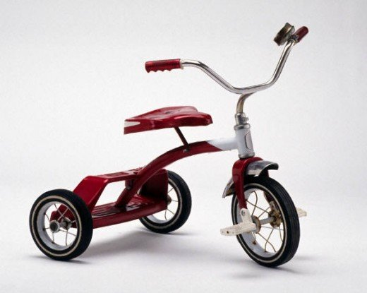 Our tricycles were red.