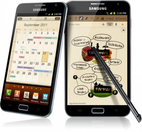 The Galaxy Note boasts a 5.3-inch high definition screen.