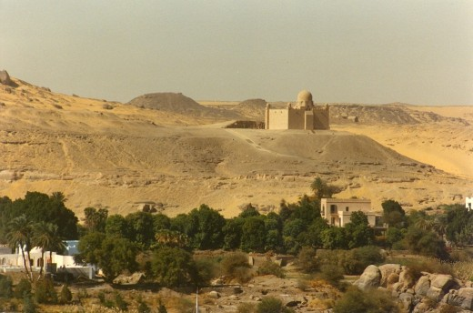 Aga Khan Mausoleum from Aswan. Elephantine Island is in the foreground.