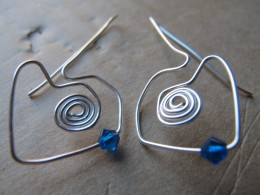 For these earrings, I actually built the hearts around the spirals.