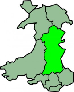 Map location of Powys, Wales