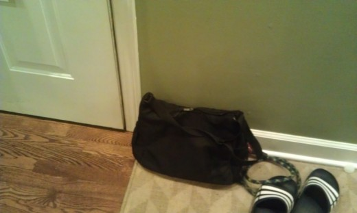 The busy Bag hanging out by the front door