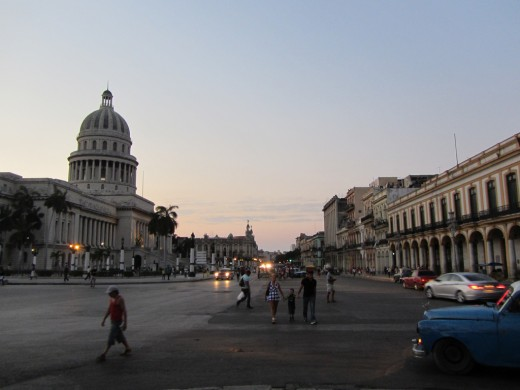 People walking on Old Havana streets near Capitolio building