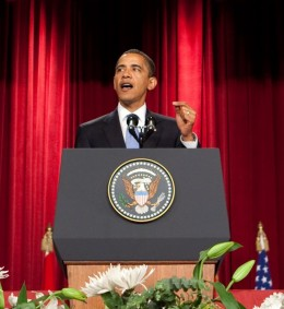 Barack Obama speaks at Cairo University in Cairo. Obama is well known for his exemplary oratory skills. In fact he has also  the first ever President to take questions from citizens in virtual interviews aired live from the White House.