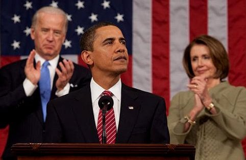 Obama addressing a joint session of congress as with Joe Biden and Nancy Pelosi in the background.