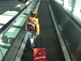 My Buddy Getting Ready to Get on An Airplane!  He was very excited!