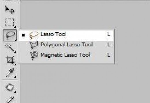 Where to find the lasso tool.