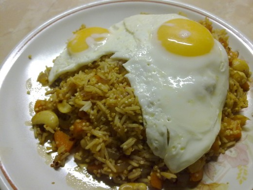 Veggie Nasi Goreng topped with fried eggs (I've added quinoa to nasi here)