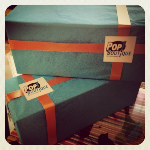 Gift-wrapped candlestick holders from Pop Boutique Online Store