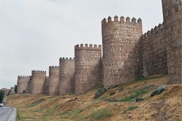 The wall and towers of Avila, Spain.