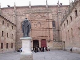 Plaza de los Estudiantes at the University of Salamanca in Salamanca, Spain.
