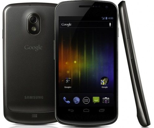 The Samsung Galaxy Nexus smart phone comes with the Android 4.0 operating system and features a 4 1/2-inch screen.