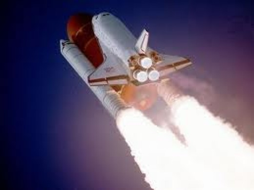 Space shuttle reaching out for vacuum flight.