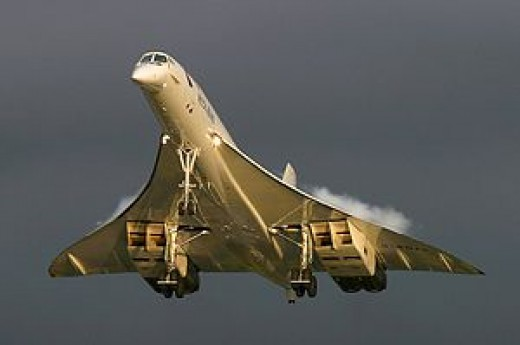 Concorde supersonic passenger aircraft approaching for landing